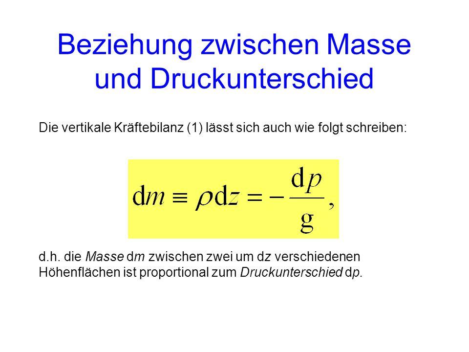 Die vertikale Kräftebilanz (1) lässt sich auch wie folgt schreiben: d.h.
