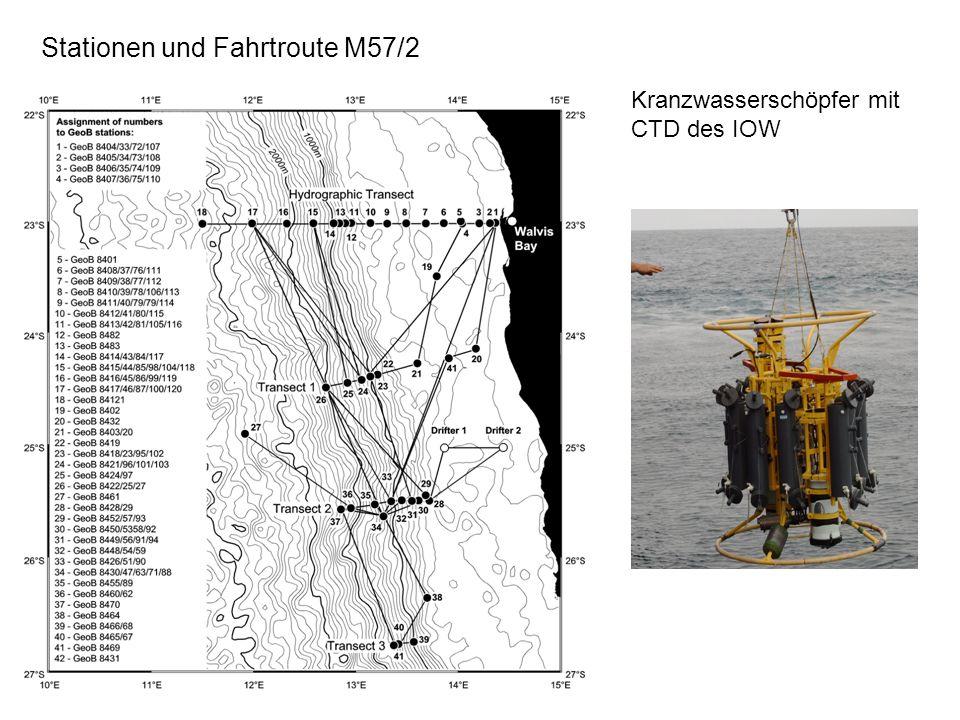 Stationen und Fahrtroute M57/2 Kranzwasserschöpfer mit CTD des IOW