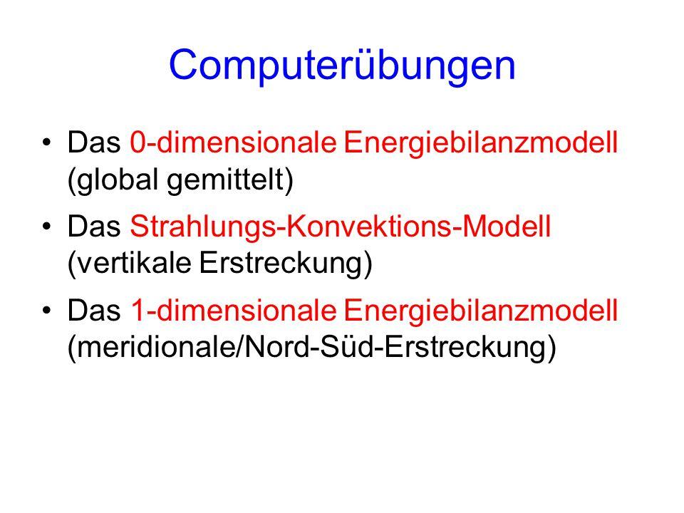 Computerübungen Das 0-dimensionale Energiebilanzmodell (global gemittelt) Das Strahlungs-Konvektions-Modell (vertikale Erstreckung) Das 1-dimensionale Energiebilanzmodell (meridionale/Nord-Süd-Erstreckung)