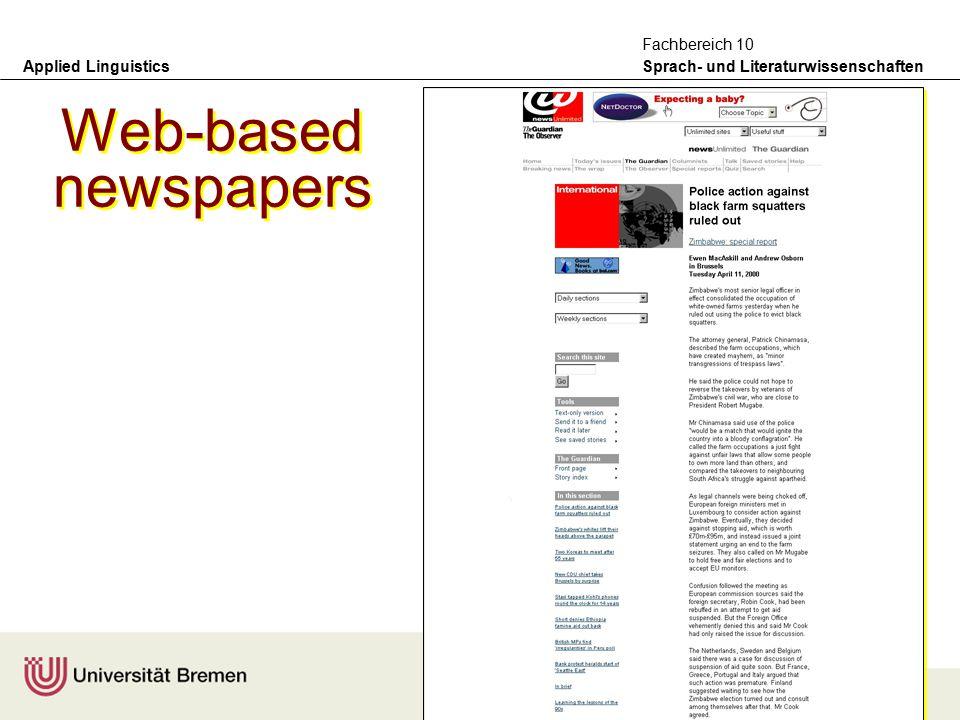 Applied Linguistics Sprach- und Literaturwissenschaften Fachbereich 10 Print newspapers