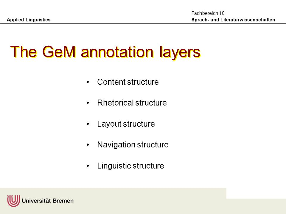 Applied Linguistics Sprach- und Literaturwissenschaften Fachbereich 10 –what kinds of annotation do we need