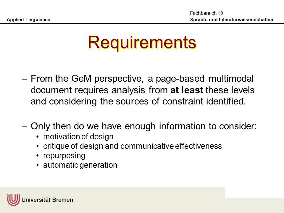 Applied Linguistics Sprach- und Literaturwissenschaften Fachbereich 10 Practical information required –the GeM model also takes seriously the notion t