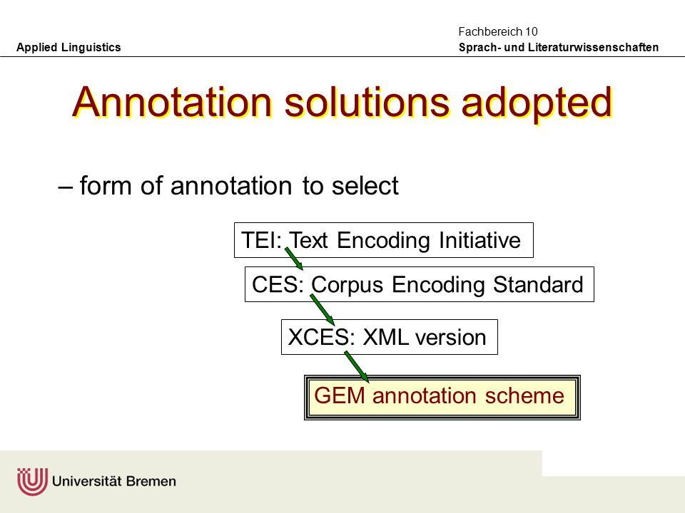 Applied Linguistics Sprach- und Literaturwissenschaften Fachbereich 10 Summary of annotation problems raised –form of annotation to select –criteria f