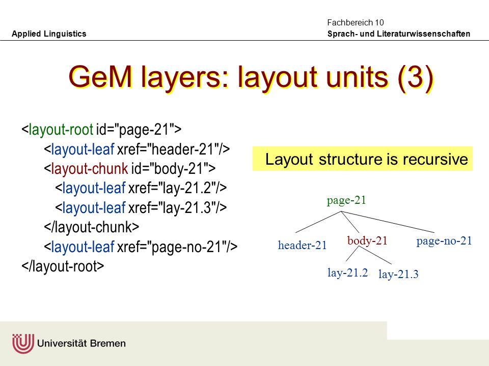Applied Linguistics Sprach- und Literaturwissenschaften Fachbereich 10 GeM layers: layout units (2) Layout units contain typographical details common