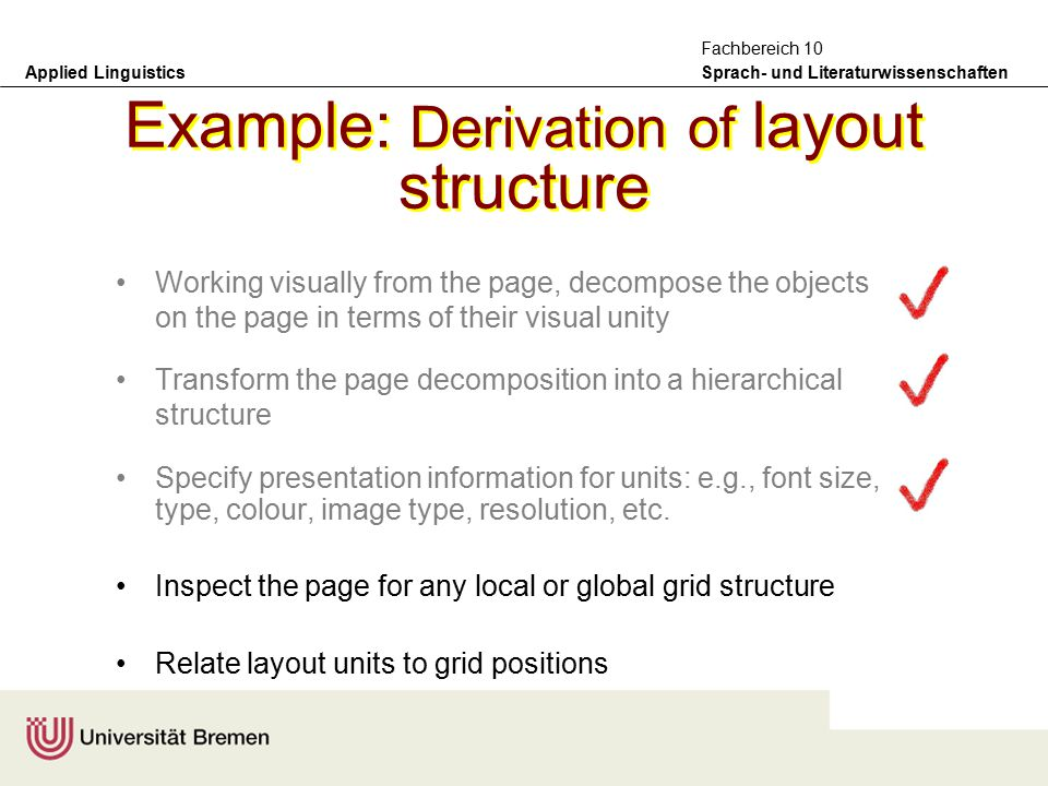 Applied Linguistics Sprach- und Literaturwissenschaften Fachbereich 10 Annotation solutions adopted –non-linear information positioning of layout units within a page is specified two-dimensionally with respect to a generalized page model the page model decomposes the page area into a hierarchy of grids specifying the grid for a page is part of the annotation task.