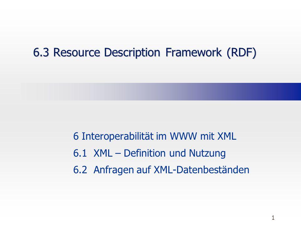 1 6.3 Resource Description Framework (RDF) 6 Interoperabilität im WWW mit XML 6.1 XML – Definition und Nutzung 6.2 Anfragen auf XML-Datenbeständen