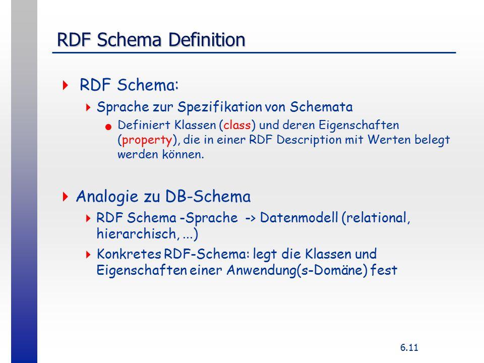 6.11 RDF Schema Definition  RDF Schema:  Sprache zur Spezifikation von Schemata Definiert Klassen (class) und deren Eigenschaften (property), die in einer RDF Description mit Werten belegt werden können.