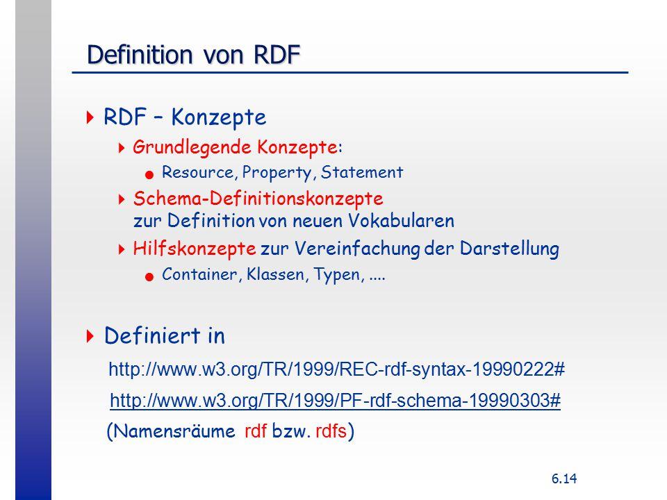 6.14 Definition von RDF Definition von RDF  RDF – Konzepte  Grundlegende Konzepte: Resource, Property, Statement  Schema-Definitionskonzepte zur Definition von neuen Vokabularen  Hilfskonzepte zur Vereinfachung der Darstellung Container, Klassen, Typen,....