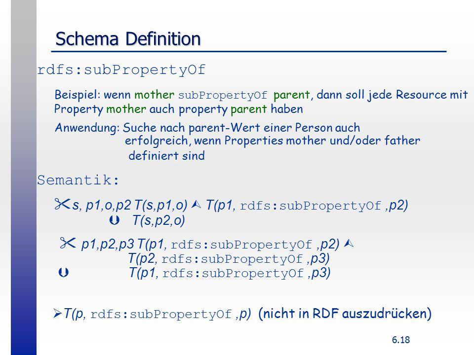 6.18 Schema Definition rdfs:subPropertyOf Beispiel: wenn mother subPropertyOf parent, dann soll jede Resource mit Property mother auch property parent haben Anwendung: Suche nach parent-Wert einer Person auch erfolgreich, wenn Properties mother und/oder father definiert sind Semantik:  s, p1,o,p2 T(s,p1,o)  T(p1, rdfs:subPropertyOf,p2)  T(s,p2,o)  p1,p2,p3 T(p1, rdfs:subPropertyOf,p2)  T(p2, rdfs:subPropertyOf,p3)  T(p1, rdfs:subPropertyOf,p3)  T(p, rdfs:subPropertyOf,p) (nicht in RDF auszudrücken)