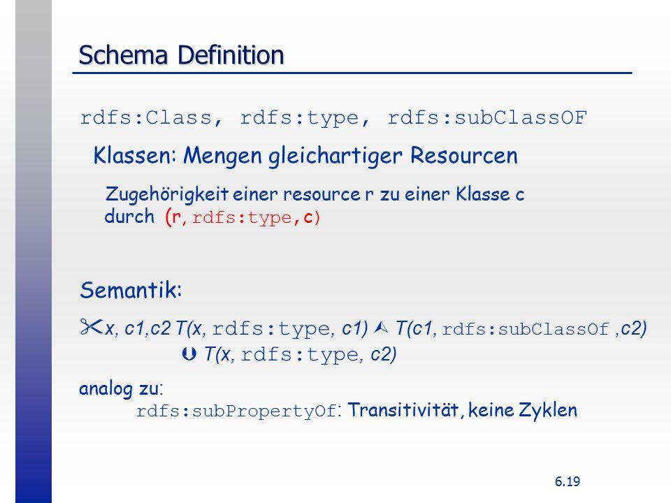 6.19 Schema Definition rdfs:Class, rdfs:type, rdfs:subClassOF Klassen: Mengen gleichartiger Resourcen Zugehörigkeit einer resource r zu einer Klasse c durch (r, rdfs:type, c ) Semantik:  x, c1,c2 T(x, rdfs:type, c1)  T(c1, rdfs:subClassOf,c2)  T(x, rdfs:type, c2) analog zu : rdfs:subPropertyOf : Transitivität, keine Zyklen