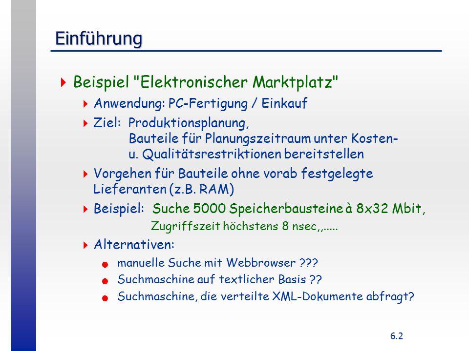 6.2 Einführung  Beispiel Elektronischer Marktplatz  Anwendung: PC-Fertigung / Einkauf  Ziel: Produktionsplanung, Bauteile für Planungszeitraum unter Kosten- u.