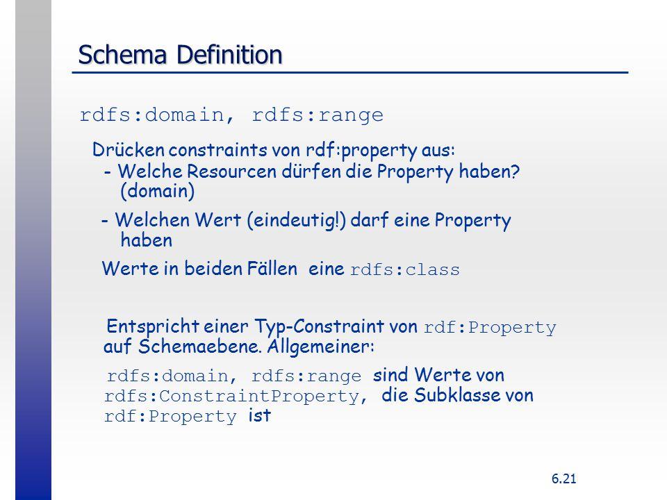 6.21 Schema Definition rdfs:domain, rdfs:range Drücken constraints von rdf:property aus: - Welche Resourcen dürfen die Property haben.