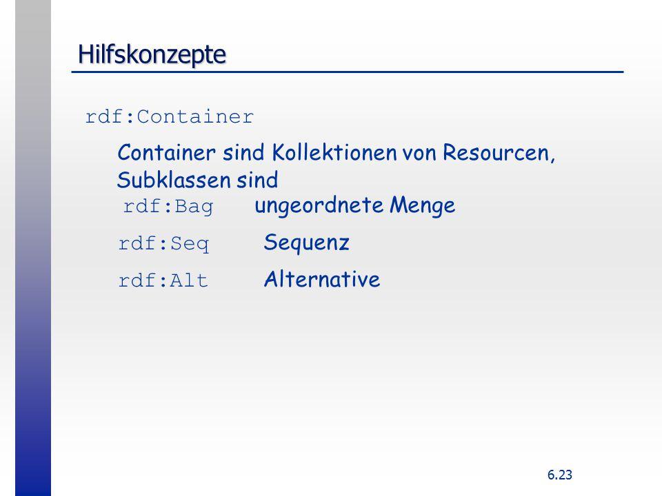 6.23 Hilfskonzepte rdf:Container Container sind Kollektionen von Resourcen, Subklassen sind rdf:Bag ungeordnete Menge rdf:Seq Sequenz rdf:Alt Alternative