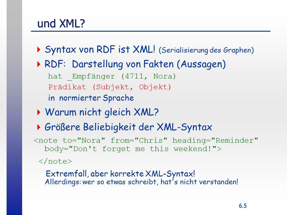 6.5 und XML.und XML.  Syntax von RDF ist XML.