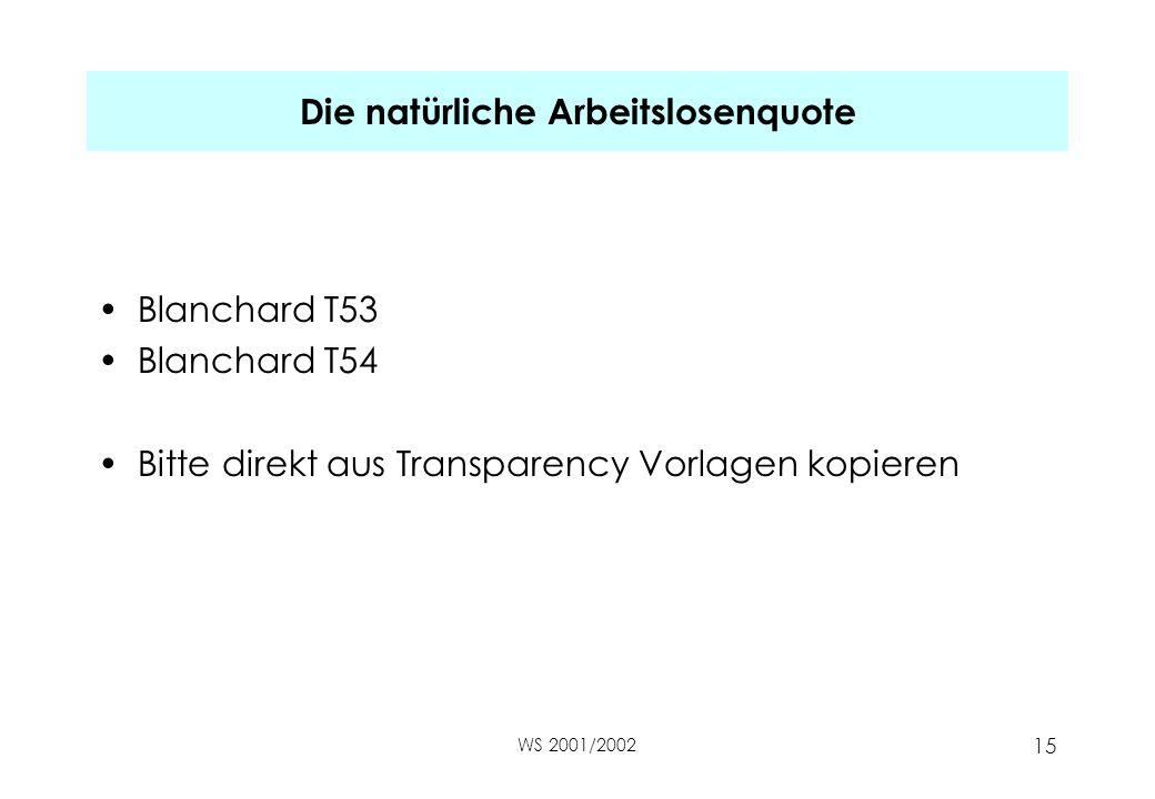WS 2001/2002 15 Die natürliche Arbeitslosenquote Blanchard T53 Blanchard T54 Bitte direkt aus Transparency Vorlagen kopieren