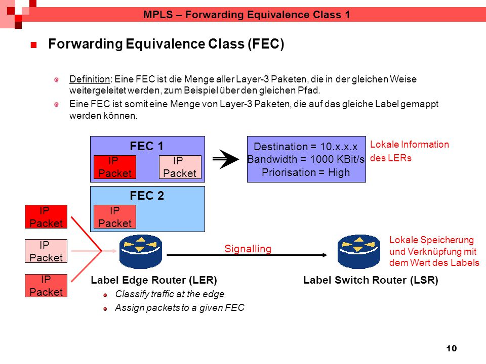 10 MPLS – Forwarding Equivalence Class 1 Forwarding Equivalence Class (FEC) Definition: Eine FEC ist die Menge aller Layer-3 Paketen, die in der gleichen Weise weitergeleitet werden, zum Beispiel über den gleichen Pfad.