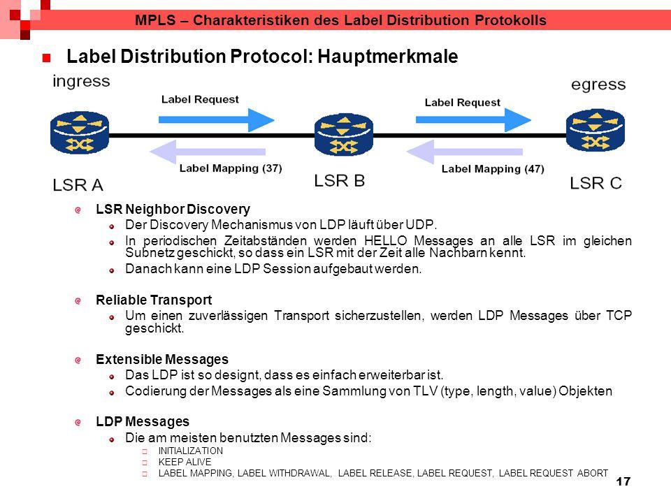 17 MPLS – Charakteristiken des Label Distribution Protokolls Label Distribution Protocol: Hauptmerkmale LSR Neighbor Discovery Der Discovery Mechanismus von LDP läuft über UDP.