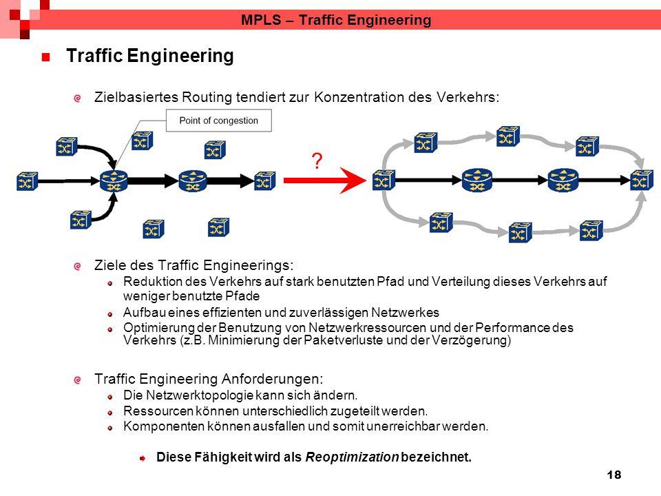 18 MPLS – Traffic Engineering Traffic Engineering Zielbasiertes Routing tendiert zur Konzentration des Verkehrs: Ziele des Traffic Engineerings: Reduk