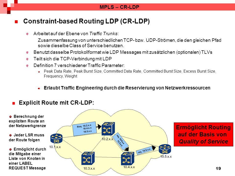 19 MPLS – CR-LDP Constraint-based Routing LDP (CR-LDP) Arbeitet auf der Ebene von Traffic Trunks: Zusammenfassung von unterschiedlichen TCP- bzw. UDP-