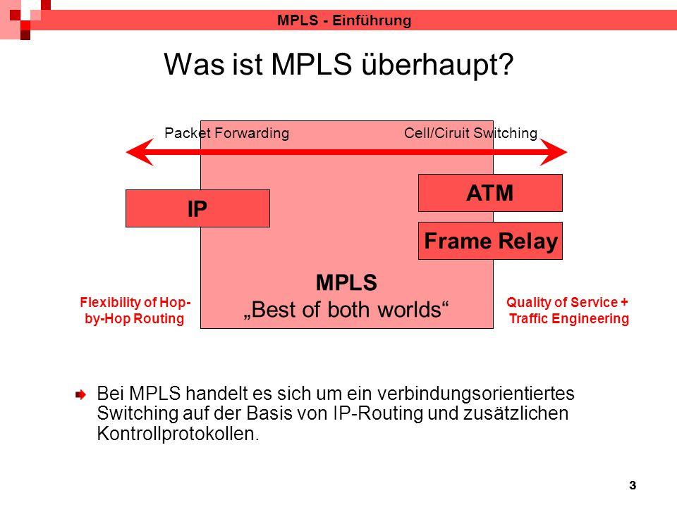 """3 MPLS """"Best of both worlds"""" MPLS - Einführung Was ist MPLS überhaupt? Packet Forwarding Cell/Ciruit Switching Bei MPLS handelt es sich um ein verbind"""