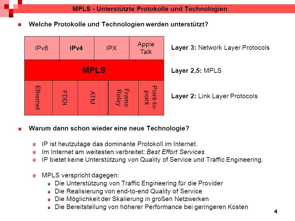 4 MPLS - Unterstützte Protokolle und Technologien Welche Protokolle und Technologien werden unterstützt.