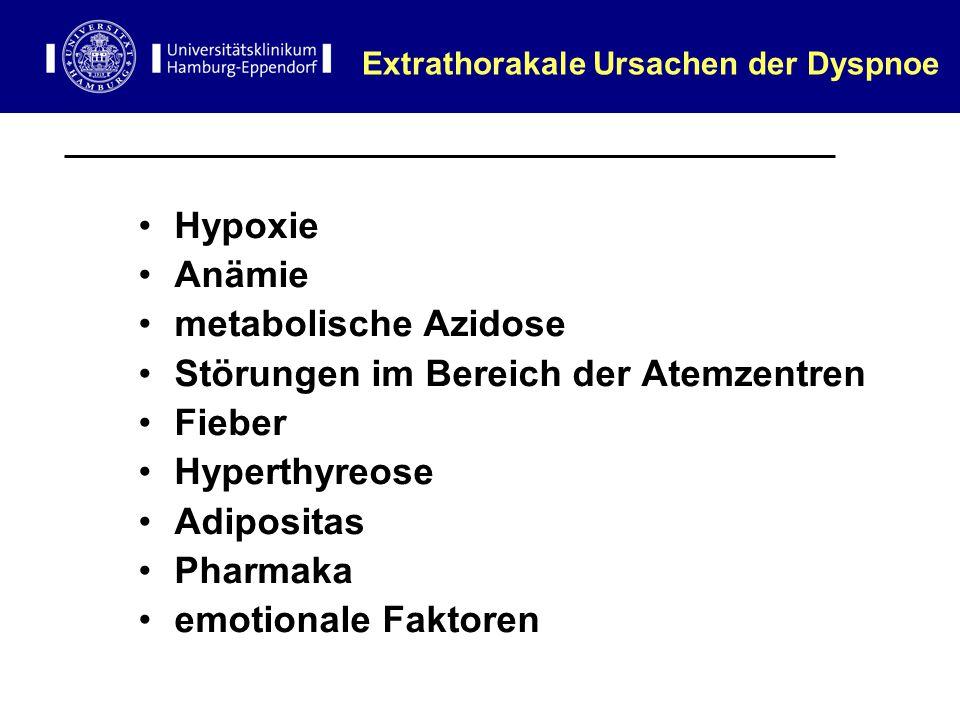 Extrathorakale Ursachen der Dyspnoe Hypoxie Anämie metabolische Azidose Störungen im Bereich der Atemzentren Fieber Hyperthyreose Adipositas Pharmaka