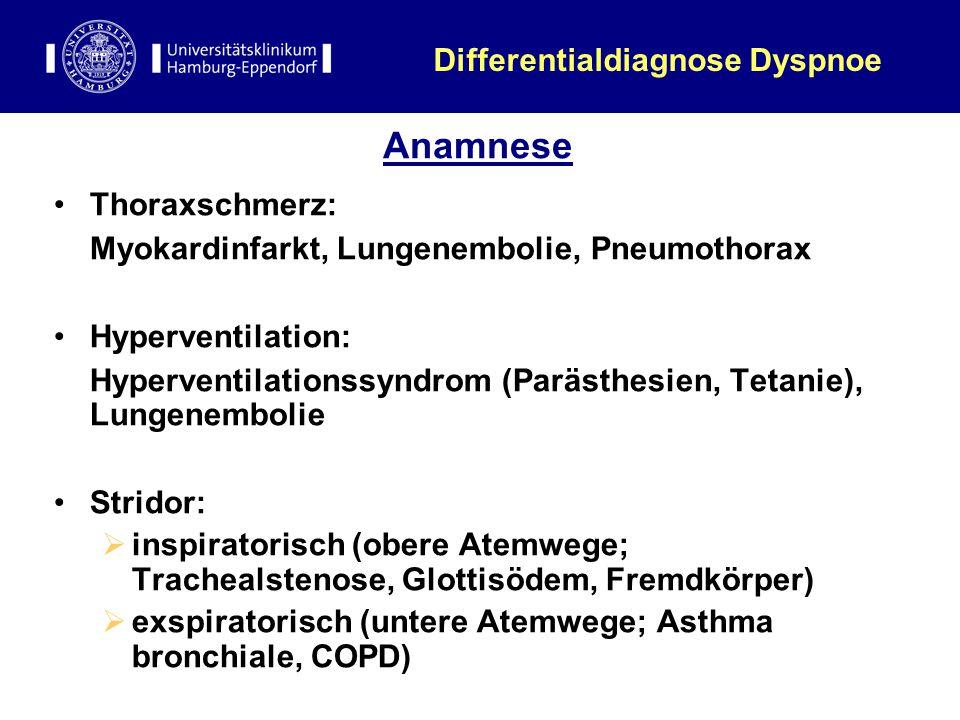 Anamnese Thoraxschmerz: Myokardinfarkt, Lungenembolie, Pneumothorax Hyperventilation: Hyperventilationssyndrom (Parästhesien, Tetanie), Lungenembolie