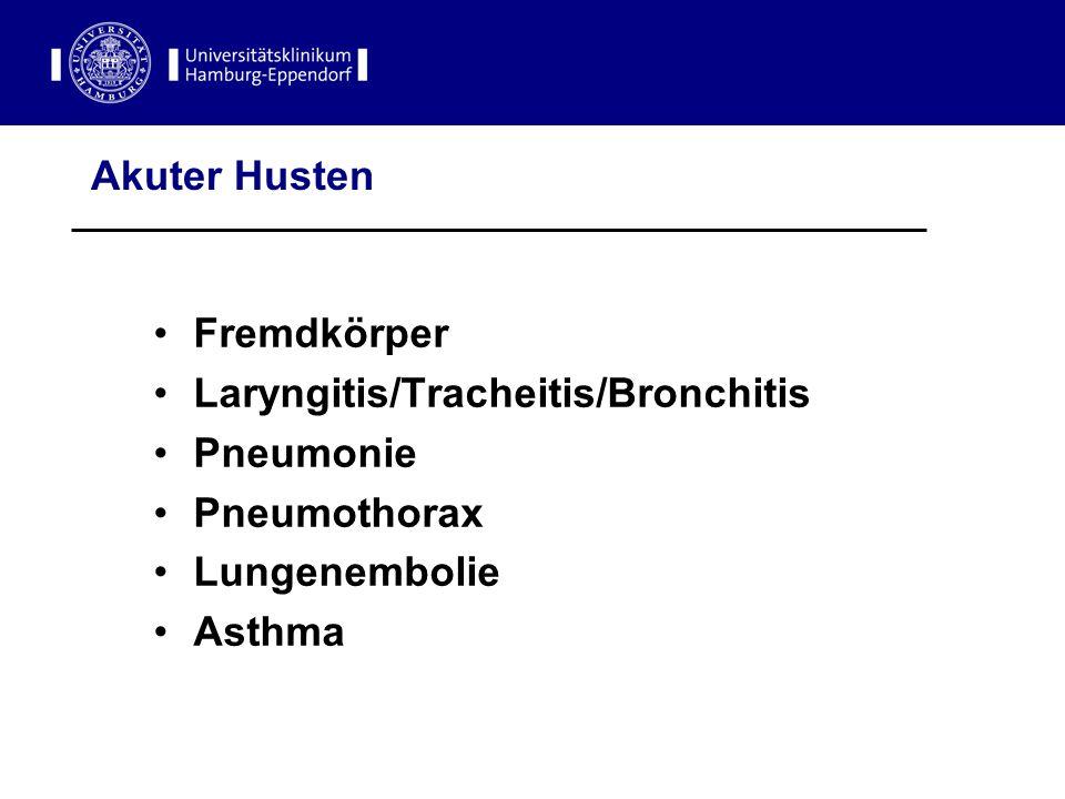 Akuter Husten Fremdkörper Laryngitis/Tracheitis/Bronchitis Pneumonie Pneumothorax Lungenembolie Asthma