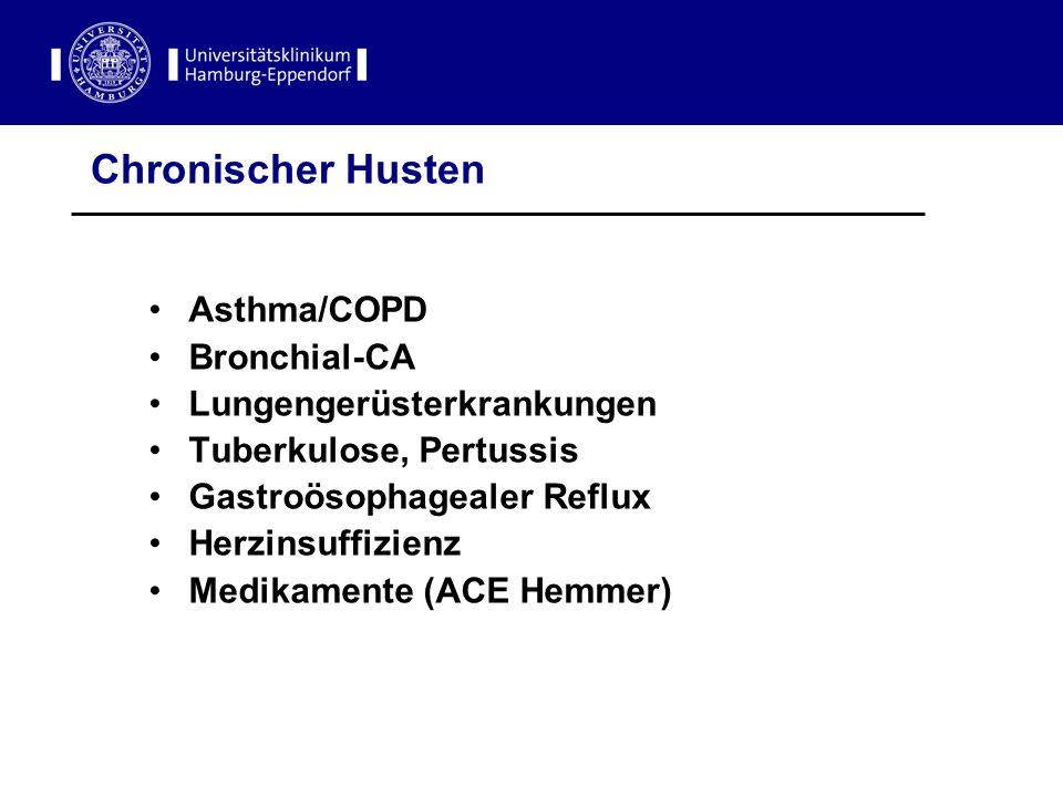 Chronischer Husten Asthma/COPD Bronchial-CA Lungengerüsterkrankungen Tuberkulose, Pertussis Gastroösophagealer Reflux Herzinsuffizienz Medikamente (AC