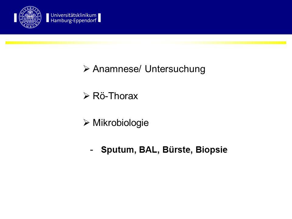 Diagnostik der Pneumonie  Anamnese/ Untersuchung  Rö-Thorax  Mikrobiologie - Sputum, BAL, Bürste, Biopsie