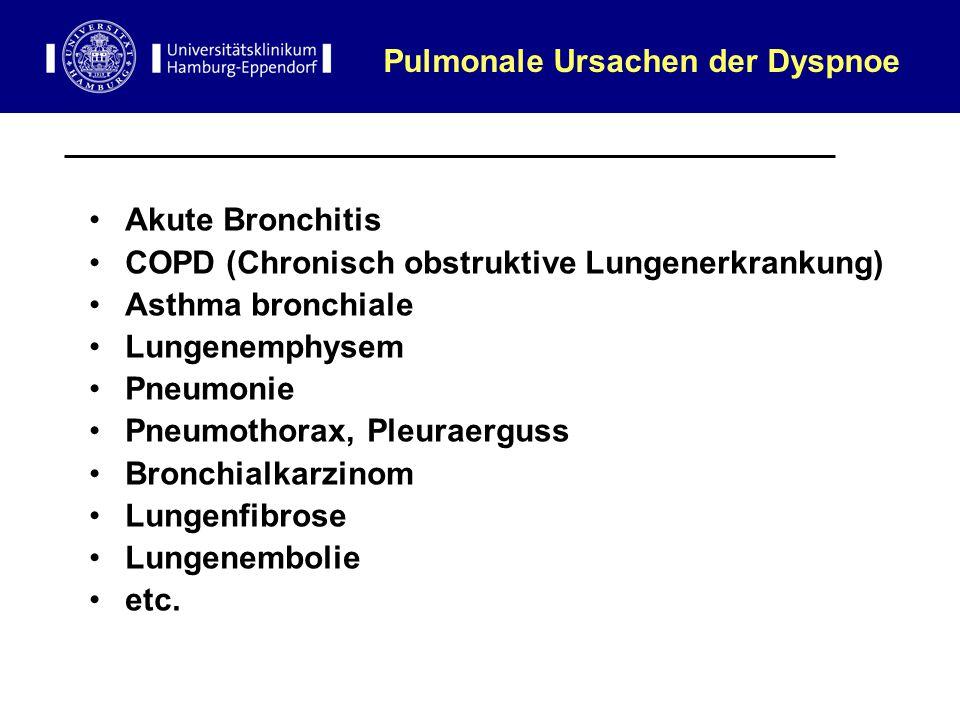 Pulmonale Ursachen der Dyspnoe Akute Bronchitis COPD (Chronisch obstruktive Lungenerkrankung) Asthma bronchiale Lungenemphysem Pneumonie Pneumothorax,