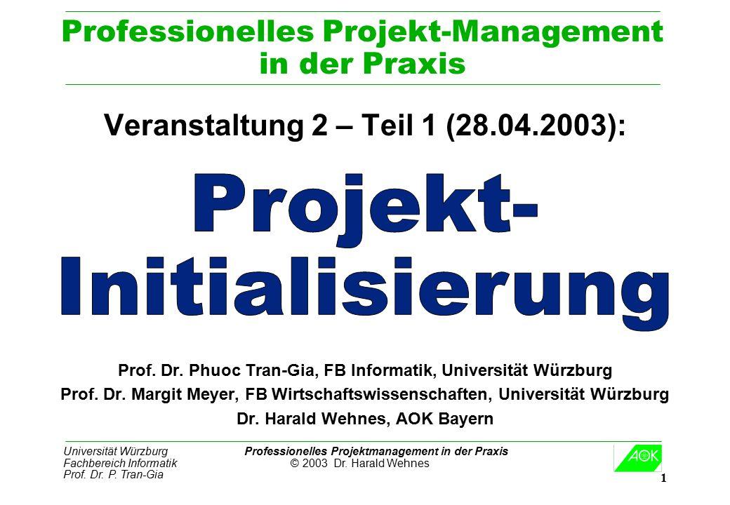 Universität Würzburg Professionelles Projektmanagement in der Praxis Fachbereich Informatik © 2003 Dr. Harald Wehnes Prof. Dr. P. Tran-Gia 1 Professio