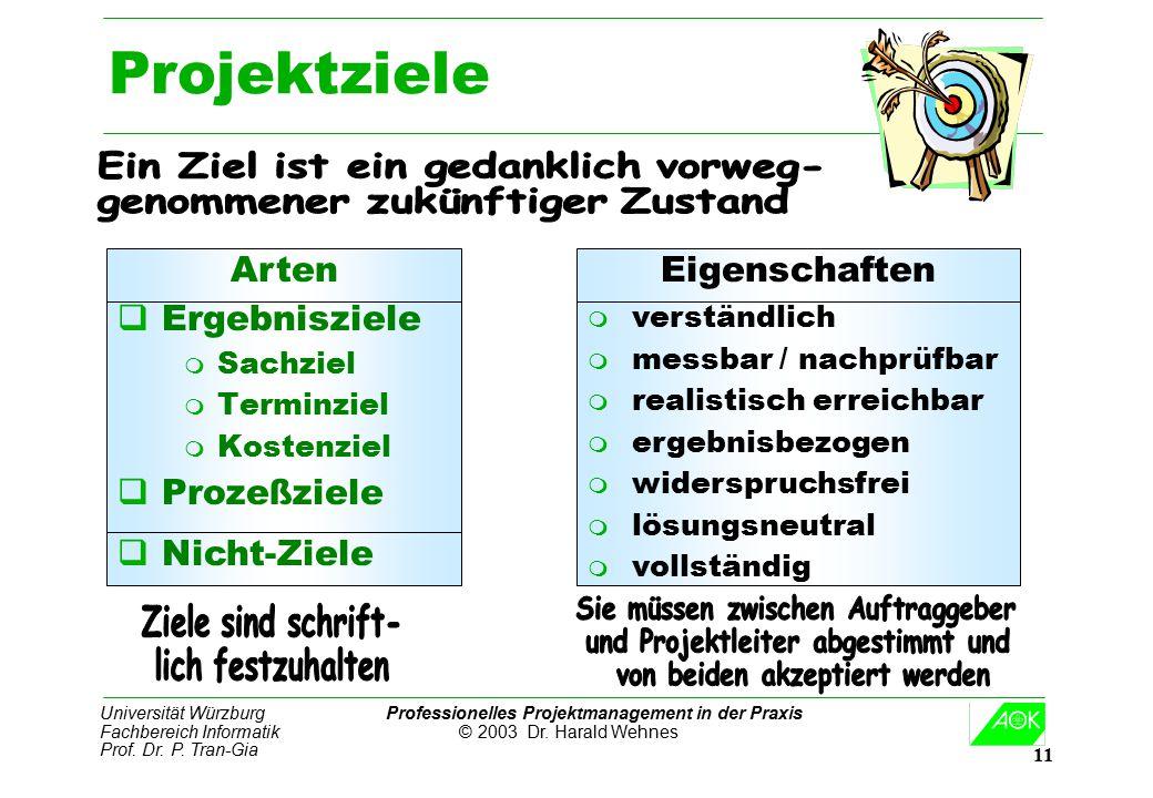 Universität Würzburg Professionelles Projektmanagement in der Praxis Fachbereich Informatik © 2003 Dr. Harald Wehnes Prof. Dr. P. Tran-Gia 11 Projektz