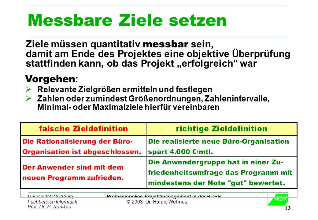 Universität Würzburg Professionelles Projektmanagement in der Praxis Fachbereich Informatik © 2003 Dr. Harald Wehnes Prof. Dr. P. Tran-Gia 13 Messbare