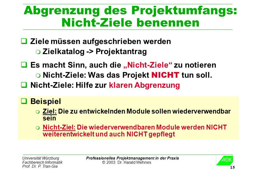 Universität Würzburg Professionelles Projektmanagement in der Praxis Fachbereich Informatik © 2003 Dr. Harald Wehnes Prof. Dr. P. Tran-Gia 15 Abgrenzu