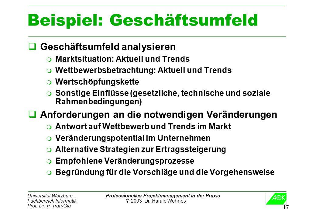 Universität Würzburg Professionelles Projektmanagement in der Praxis Fachbereich Informatik © 2003 Dr. Harald Wehnes Prof. Dr. P. Tran-Gia 17 Beispiel