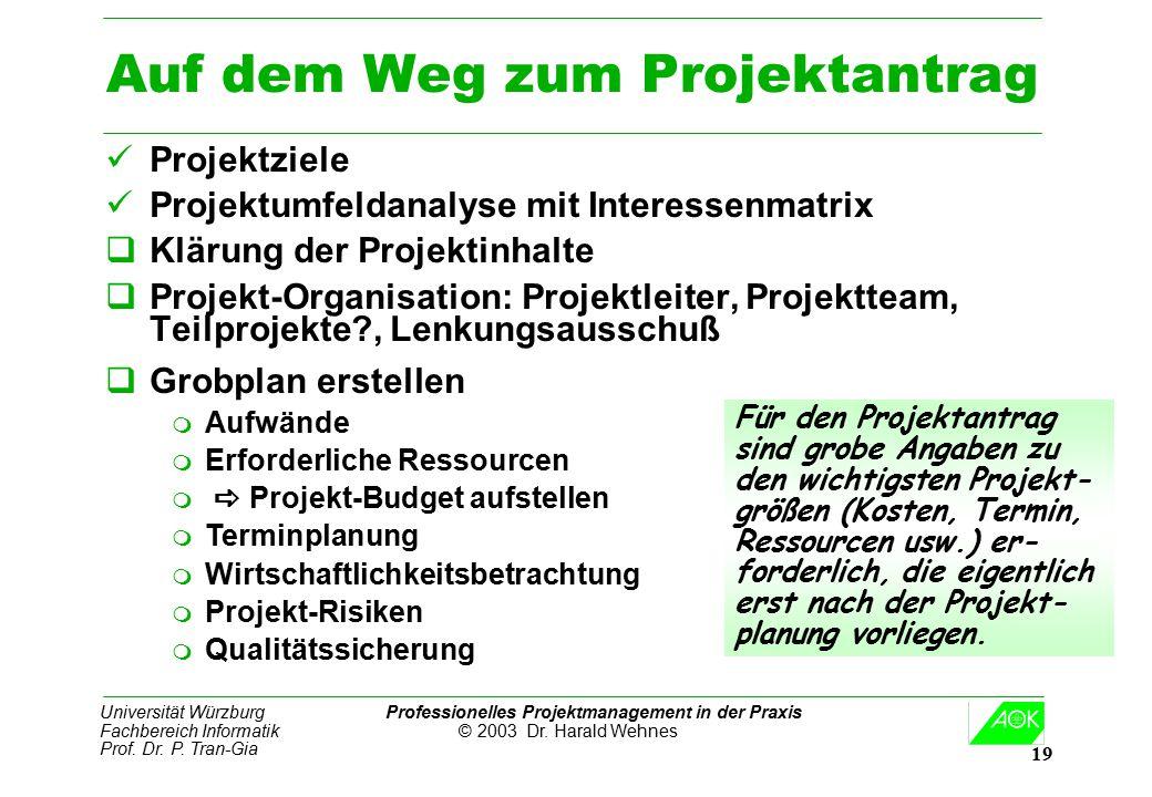 Universität Würzburg Professionelles Projektmanagement in der Praxis Fachbereich Informatik © 2003 Dr. Harald Wehnes Prof. Dr. P. Tran-Gia 19 Auf dem