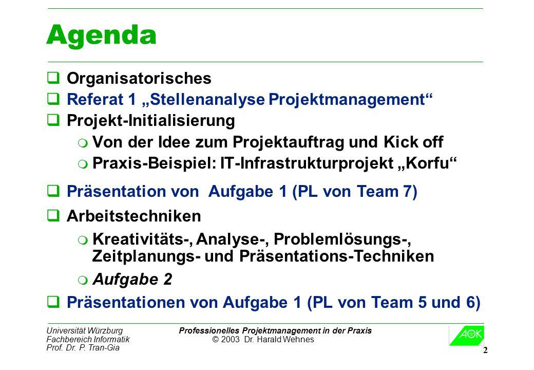 Universität Würzburg Professionelles Projektmanagement in der Praxis Fachbereich Informatik © 2003 Dr. Harald Wehnes Prof. Dr. P. Tran-Gia 2 Agenda qO