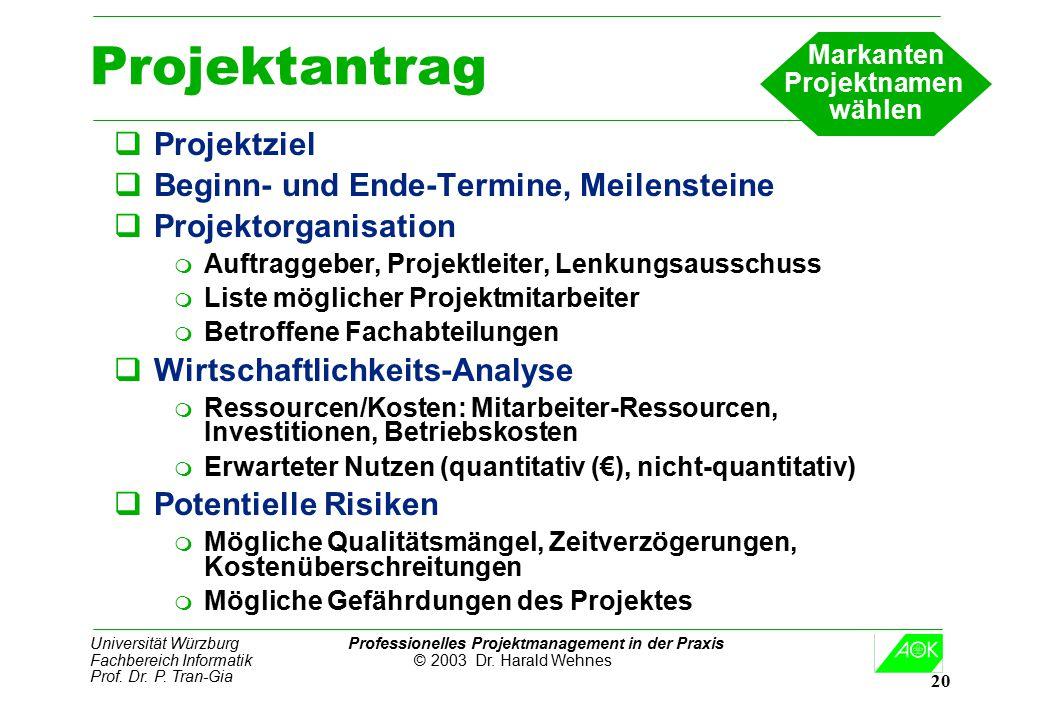 Universität Würzburg Professionelles Projektmanagement in der Praxis Fachbereich Informatik © 2003 Dr. Harald Wehnes Prof. Dr. P. Tran-Gia 20 Projekta