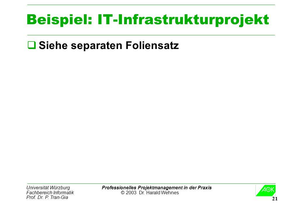 Universität Würzburg Professionelles Projektmanagement in der Praxis Fachbereich Informatik © 2003 Dr. Harald Wehnes Prof. Dr. P. Tran-Gia 21 Beispiel