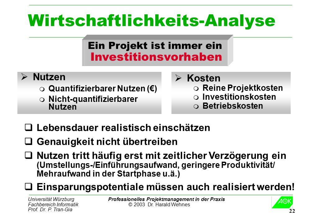 Universität Würzburg Professionelles Projektmanagement in der Praxis Fachbereich Informatik © 2003 Dr. Harald Wehnes Prof. Dr. P. Tran-Gia 22 Wirtscha