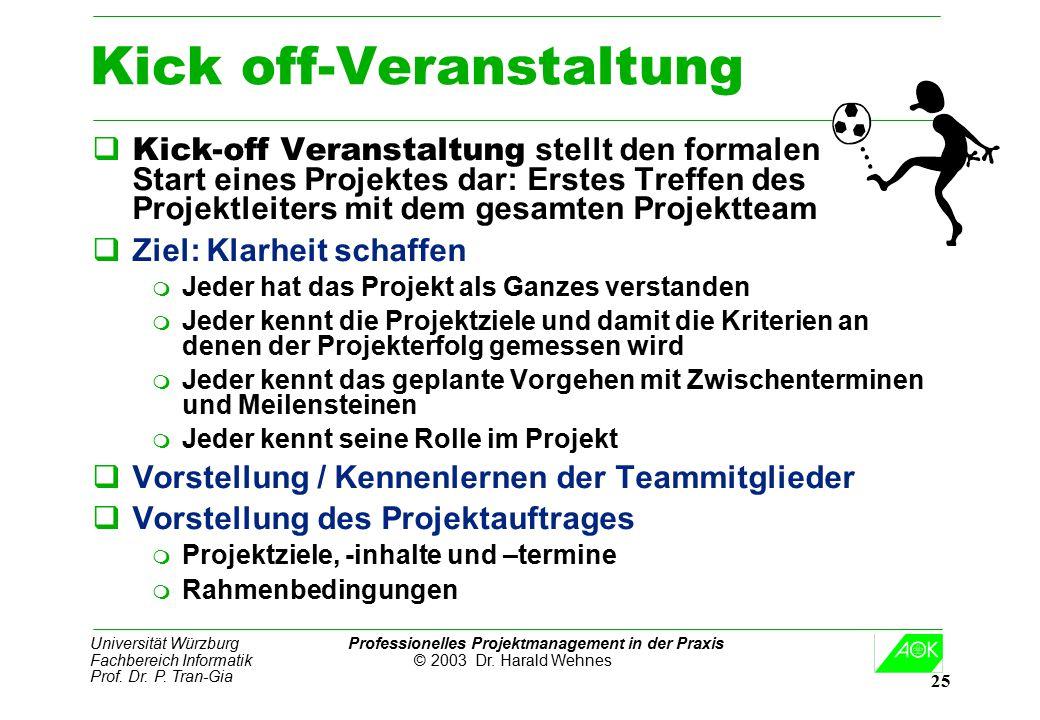 Universität Würzburg Professionelles Projektmanagement in der Praxis Fachbereich Informatik © 2003 Dr. Harald Wehnes Prof. Dr. P. Tran-Gia 25 Kick off
