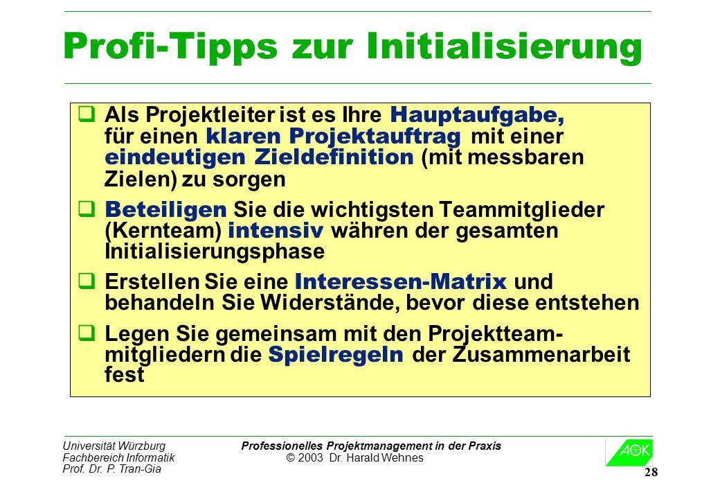 Universität Würzburg Professionelles Projektmanagement in der Praxis Fachbereich Informatik © 2003 Dr. Harald Wehnes Prof. Dr. P. Tran-Gia 28 Profi-Ti