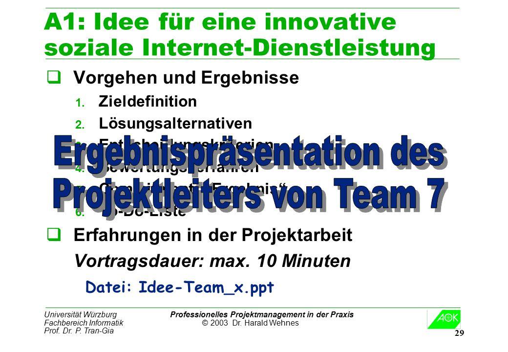 Universität Würzburg Professionelles Projektmanagement in der Praxis Fachbereich Informatik © 2003 Dr. Harald Wehnes Prof. Dr. P. Tran-Gia 29 A1: Idee