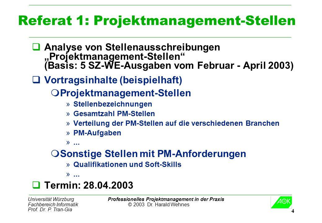 Universität Würzburg Professionelles Projektmanagement in der Praxis Fachbereich Informatik © 2003 Dr. Harald Wehnes Prof. Dr. P. Tran-Gia 4 Referat 1