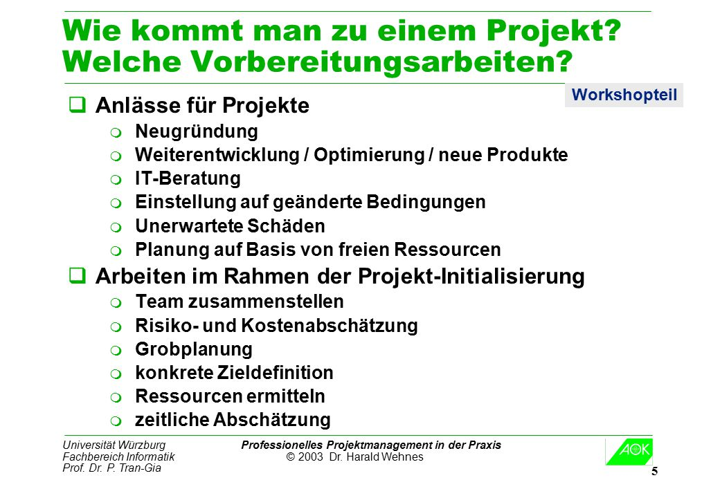 Universität Würzburg Professionelles Projektmanagement in der Praxis Fachbereich Informatik © 2003 Dr. Harald Wehnes Prof. Dr. P. Tran-Gia 5 Wie kommt