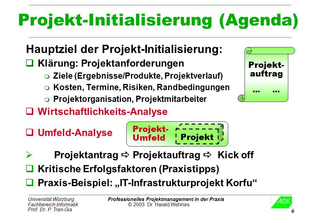 Universität Würzburg Professionelles Projektmanagement in der Praxis Fachbereich Informatik © 2003 Dr. Harald Wehnes Prof. Dr. P. Tran-Gia 6 Projekt-I