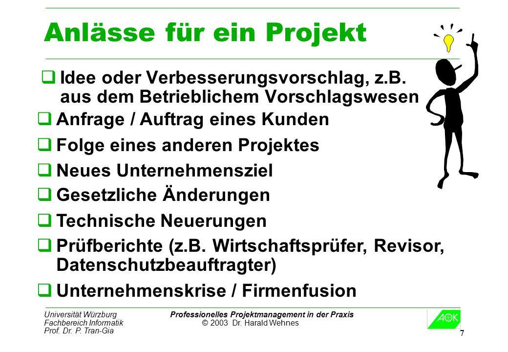 Universität Würzburg Professionelles Projektmanagement in der Praxis Fachbereich Informatik © 2003 Dr. Harald Wehnes Prof. Dr. P. Tran-Gia 7 Anlässe f
