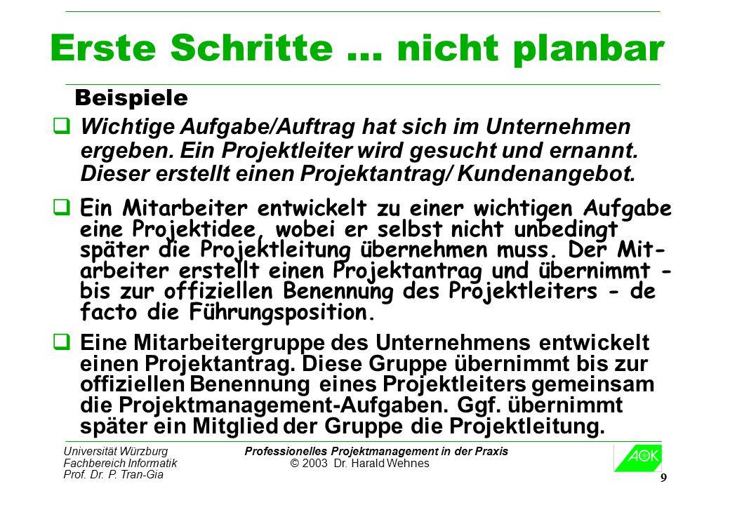 Universität Würzburg Professionelles Projektmanagement in der Praxis Fachbereich Informatik © 2003 Dr. Harald Wehnes Prof. Dr. P. Tran-Gia 9 Erste Sch