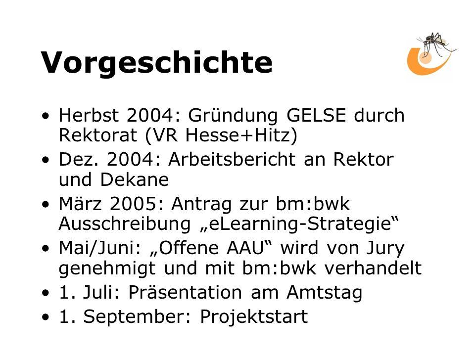 Vorgeschichte Herbst 2004: Gründung GELSE durch Rektorat (VR Hesse+Hitz) Dez.